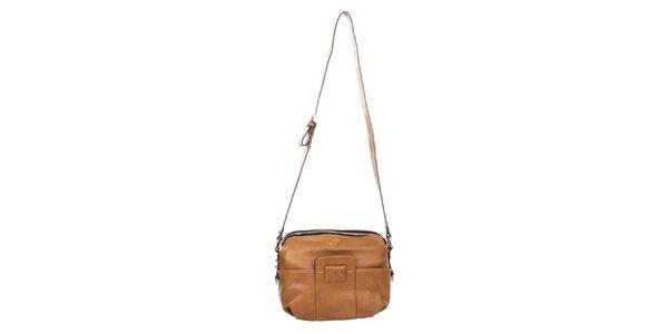 Dámska svetlo hnedá kabelka s výrazným zipsom Elite