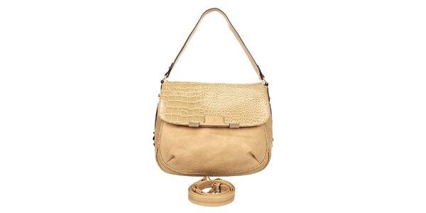 Dámska svetlo hnedá kabelka so vzorovanou klopou Elite