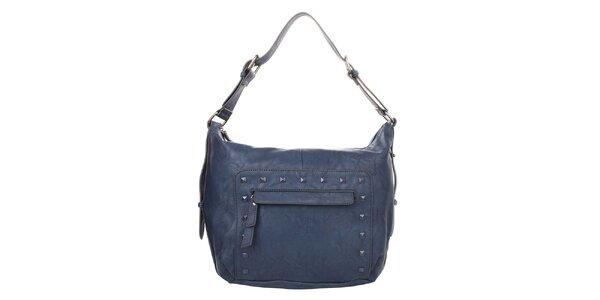 Dámska tmavo modrá kabelka s ozdobnými cvočkami Elite