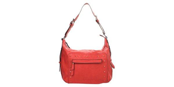 Dámska červená kabelka s ozdobnými cvočkami Elite