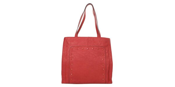 Dámska červená kabelka s pyramídkami a odopínacím vreckom Elite