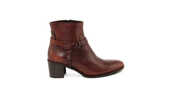 Dámske koňakovo hnedé členkové topánky na zips Paola Ferri