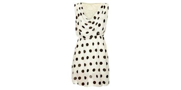 Dámske biele bodkované šaty Skulls