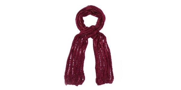 Dámsky vínový pletený šál Bella Rosa