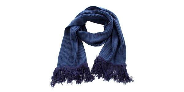 Tmavo modrý šál so strapcami Exe Jeans