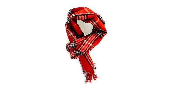 Dámsky červený kockovaný šál Fraas