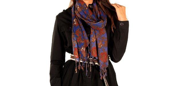 Dámsky hnedo-fialový šál so strapcami Tonala