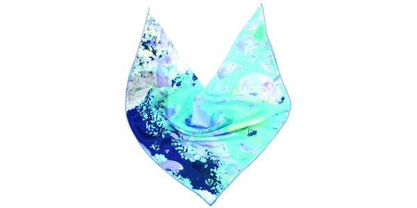 Dámska modro-zelená hodvábna šatka