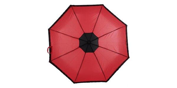 Dámsky červený skladací dáždnik s čiernymi ružičkami Ferré Milano