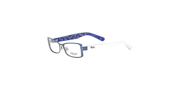 6c1e9992c Dámske modré rámy na dioptrické okuliare Replay so vzorovanými vnútrajškami…