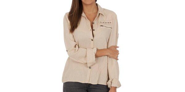 Dámska béžová košeľa s vreckom Vero Moda