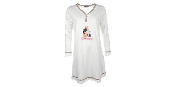 Dámska béžová nočná košeľa s mačičkami Body International