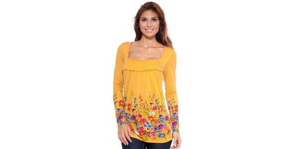 Dámsky top s farebnými kvetmi v okrovej farbe Janis