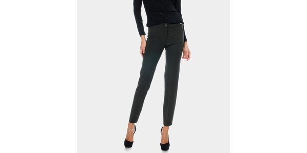 Dámske antracitové rovné nohavice s pukmi ODM Fashion