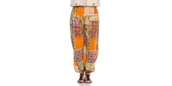 Dámske farebné nohavice s patchworkovým vzorom Janis