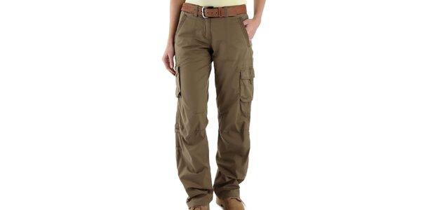 Dámske pieskovo hnedé nohavice s vreckami Bushman