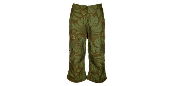 Dámske hnedo-zelené nohavice Bushman s kvetinovou potlačou
