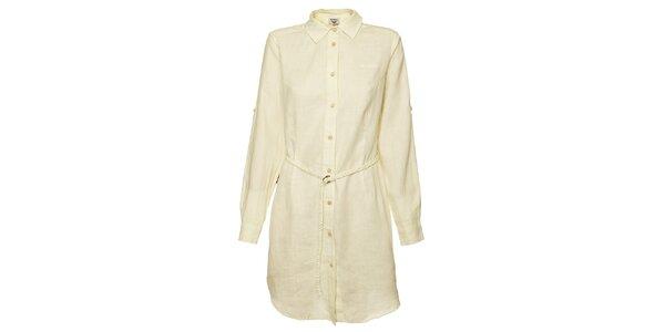 Dámske krémové košeľové šaty Bushman