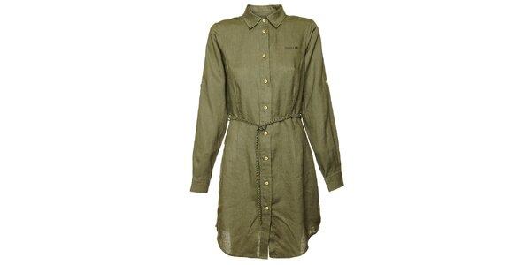 Dámske olivové košeľové šaty Bushman