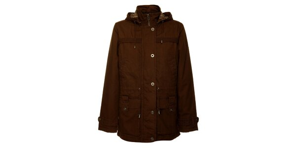 Dámsky tmavo hnedý jarný kabátik Bushman