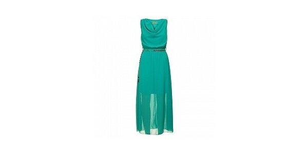 Dámske modré šaty s opaskom Comptoir des Parisiennes