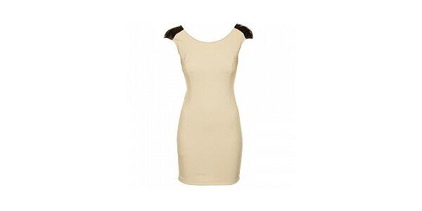 Dámske béžové púzdrové šaty Comptoir des Parisiennes so zlatou reťazou