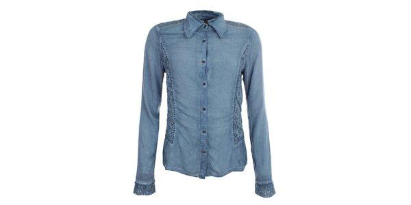Dámska indigovo modrá košeľa s perforáciou Angels Never Die