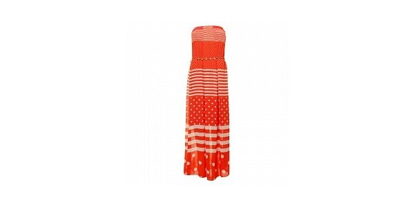 Dámske korálovo-červené dlhé šaty Comptoir des Parisiennes