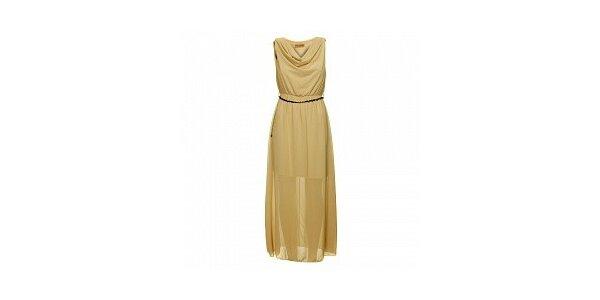 Dámske béžové šaty s opaskom Comptoir des Parisiennes
