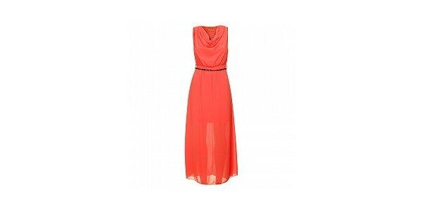 Dámske korálovo červené šaty s opaskom Comptoir des Parisiennes
