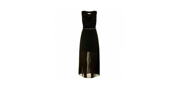 Dámske čierne šaty s opaskom Comptoir des Parisiennes