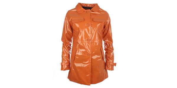 Dámsky oranžový lesklý kabát s gombíkmi Phard