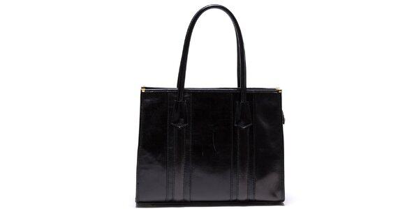 Dámska kožená kabelka s pevnými ušami v čiernej farbe Mangotti