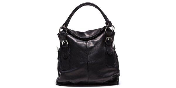 Dámska čierna kožená kabelka Mangotti
