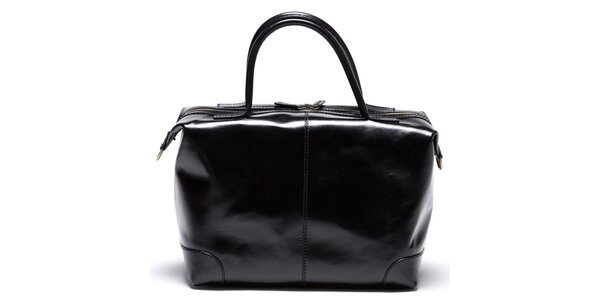 Dámska čierna kožená kabelka so zipsami v zlatom tóne Mangotti