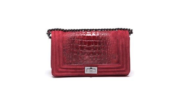 Dámska červená mini kabelka s retiazkovým pútkom Mangotti 46515a55875