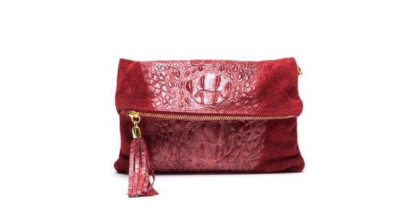 Dámska červená vzorovaná kabelka so strapcom Mangotti