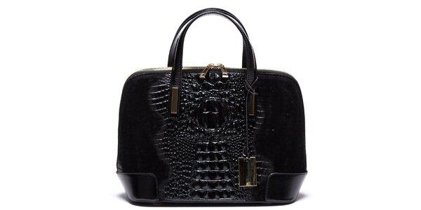 Dámska čierna kabelka so vzorom krokodílej kože Mangotti
