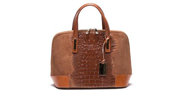 Dámska svetlo hnedá kabelka so vzorom krokodílej kože Mangotti