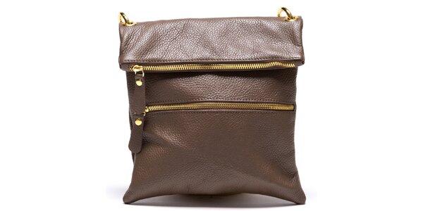 Dámska hnedá kabelka s popruhom Mangotti