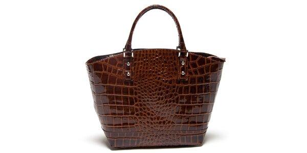 Dámska hnedá lesklá kabelka so šupinkami Mangotti