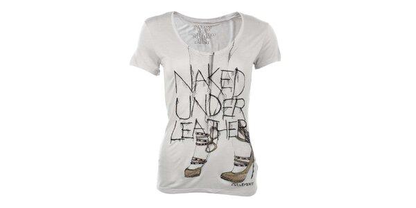 Dámske svetlo šedé tričko s výšivkami a dekoratívnou aplikáciou Zu Elements