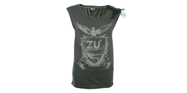 Dámske šedé tričko s potlačou a čipkou na ramene Zu Elements
