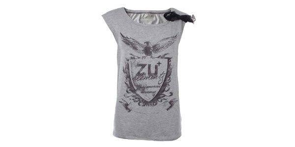 Dámske svetlo šedé tričko s potlačou a čipkou na ramene Zu Elements