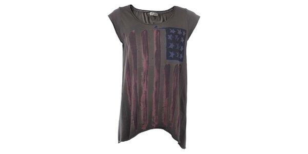 Dámske tmavo šedé tričko s potlačou vlajky Zu Elements