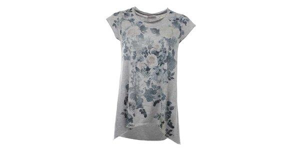 Dámske šedé dlhé tričko s kvetinovou potlačou Zu Elements