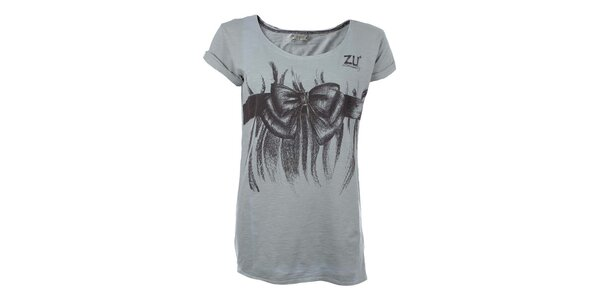Dámske šedé tričko s mašľou Zu Elements