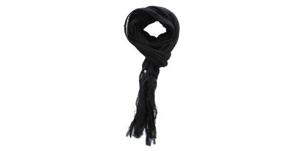 Čierny šál so strapcami Zu Elements