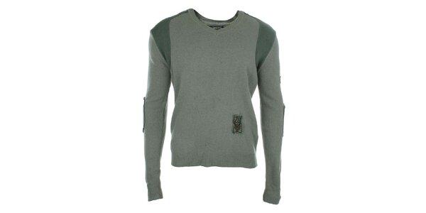 Pánsky šedý sveter s nášivkami Zu Elements