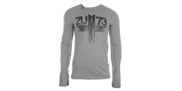 Pánske šedé tričko s dlhým rukávom a potlačou Zu Elements